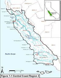 Central Coast Region Water Quality Control Board Extent Map